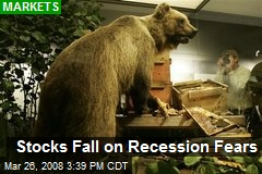 Stocks Fall on Recession Fears