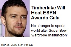 Timberlake Will Host ESPN Awards Gala