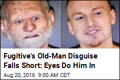 Fugitive's Old-Man Disguise Falls Short: Eyes Do Him In