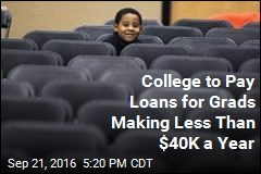 College to Pay Loans for Grads Making Less Than $40K a Year
