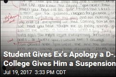 College Student Suspended for Grading Ex's Apology Letter