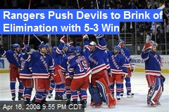 Rangers Push Devils to Brink of Elimination with 5-3 Win
