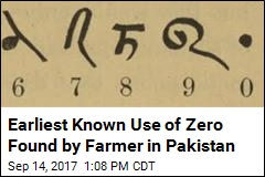 Earliest Known Use of Zero Found by Farmer in Pakistan