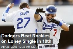 Dodgers Beat Rockies on Loney Single in 10th
