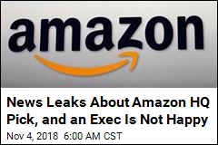 News Leaks About Amazon HQ Pick, and an Exec Is Not Happy