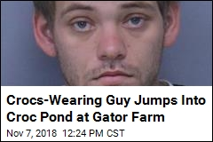 Crocs-Wearing Guy Jumps Into Croc Pond at Gator Farm