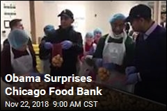 Obama Surprises Chicago Food Bank