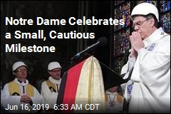 At Gutted Notre Dame, a Mass. Now With Hard Hats