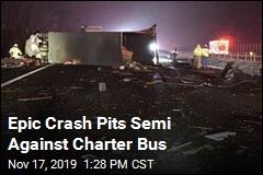 Epic Crash Pits Semi Against Charter Bus
