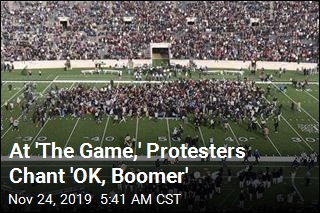 Student Protesters Delay Yale-Harvard Game, Chant 'OK, Boomer'