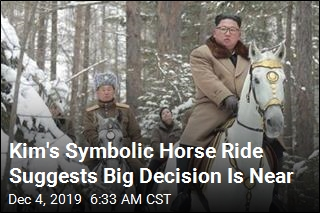 Kim Takes Symbolic Horse Ride Up Sacred Peak
