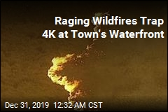 Raging Wildfires Trap 4K at Town's Waterfront