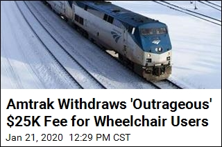 Amtrak Withdraws 'Outrageous' $25K Fee for Wheelchair Users