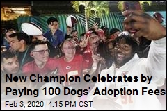 New Champion Celebrates by Paying 100 Dogs' Adoption Fees