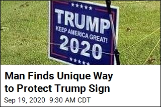 Man Finds Unique Way to Protect Trump Sign