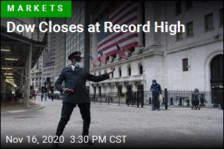 Dow Closes at Record High