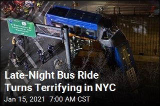 Crash Leaves Bus Dangling From NYC Overpass