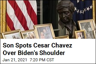 Son Spots Cesar Chavez Over Biden's Shoulder