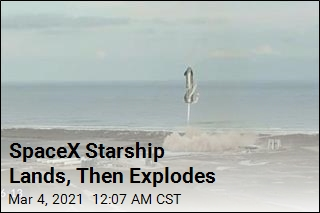 SpaceX Starship Lands, Then Explodes