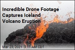 Drone Captures Iceland Eruption