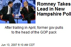 Romney Takes Lead in New Hampshire Poll
