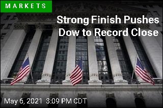Strong Finish Pushes Dow to Record Close