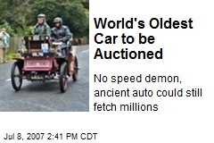 World's Oldest Car to be Auctioned