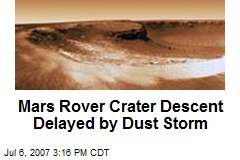 Mars Rover Crater Descent Delayed by Dust Storm