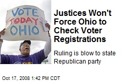 Justices Won't Force Ohio to Check Voter Registrations