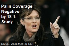Palin Coverage Negative by 18-1: Study