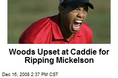 Woods Upset at Caddie for Ripping Mickelson
