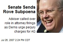 Senate Sends Rove Subpoena