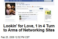 Lookin' for Love, 1 in 4 Turn to Arms of Networking Sites