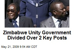 Zimbabwe Unity Government Divided Over 2 Key Posts