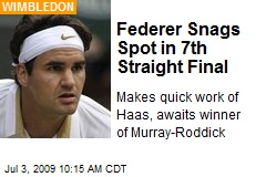 Federer Snags Spot in 7th Straight Final