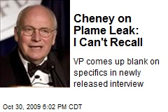 Cheney on Plame Leak: I Can't Recall