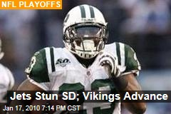 Jets Stun SD; Vikings Advance