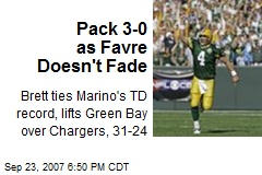 Pack 3-0 as Favre Doesn't Fade