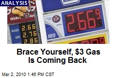 Brace Yourself, $3 Gas Is Coming Back