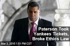 Paterson Took Yankees Tickets, Broke Ethics Law