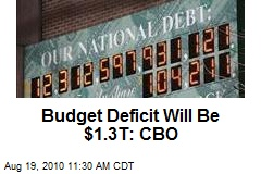 Budget Deficit Will Be $1.3T: CBO