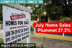July Home Sales Plummet 27.2%